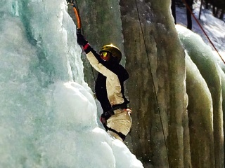 Ice Climbing at Champney Falls in New Hampshire